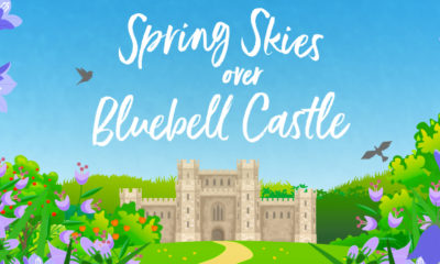 Graphical image taken from book cover showing castle and bluebells and sky, with the words Spring Skies Over Bluebell Castle